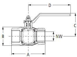 Karasto Kugelhahn DVGW-zertifiziert Risszeichnung