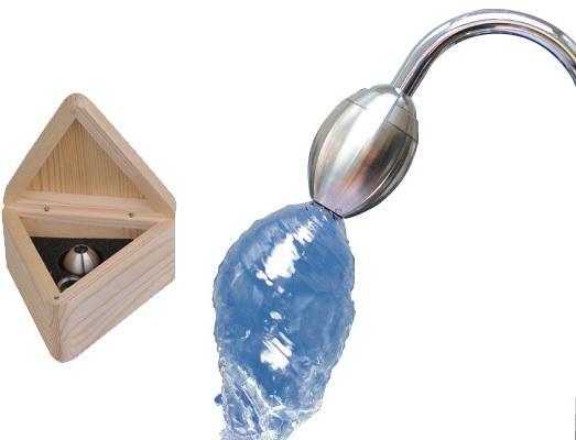 Wasserwibler Wirbel-Ei in Holzkasten und am Wasserhahn